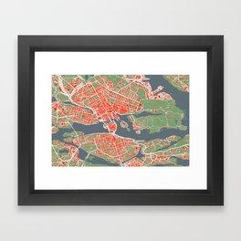 Stockholm city map classic Framed Art Print