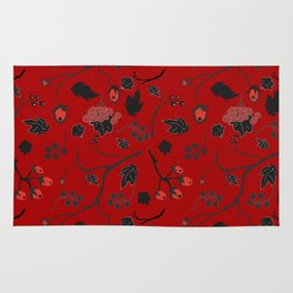 Red berry, Christmas Brier Spray Pattern Rug