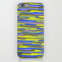 Horizontal vivid curved stripes with imitation of the bark of a yellow tree trunk. iPhone Case