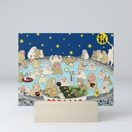 Snow Monkeys in Hot Spa Mini Art Print