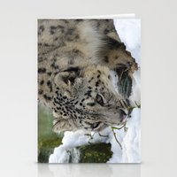 snow leopard Stationery Cards featuring Snow Leopard by PICSL8