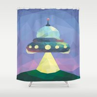 spaceship Shower Curtains featuring Sunset Spaceship. by Dani Does Art
