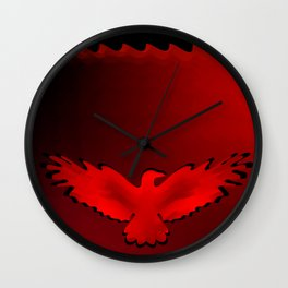 The emblem of an eagle with wings of bird in the frame. Medal with the image of an eagle on a red ba Wall Clock