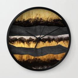 Golden Ocean Waves #1 #abstract #painting #decor #art #society6 Wall Clock