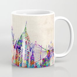 New York skyline colorful collage Coffee Mug