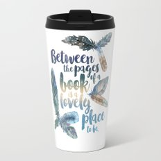 Between the Pages - Feathery White Travel Mug