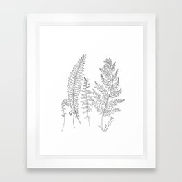 Minimal Line Art Fern Leaves Framed Art Print