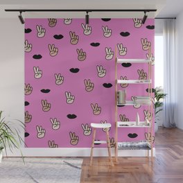 Spread the love peace and lips respect illustration pattern Wall Mural