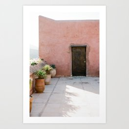 Magical Morocco - Ourika | Coral colored house and wooden door in the atlas mountains Art Print