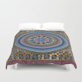 Armenian illuminated manuscript style concentric circles design Duvet Cover