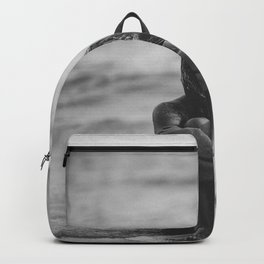 Blonde on Blonde, female form beach black and white photograph Backpack