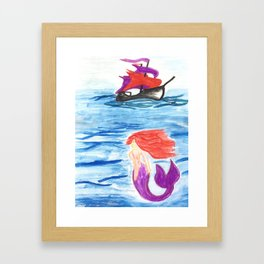 The mermaid and the pirate boat Framed Art Print