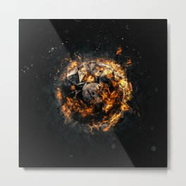 Burning Circle - Isolated on a dark background Metal Print