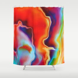 Fire and Ice Painted Fractal Shower Curtain