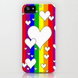 Gay flag with the colors of the rainbow with hearts iPhone Case