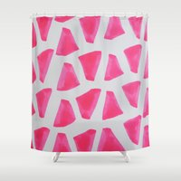watermelon Shower Curtains featuring Watermelon  by Allyson Johnson