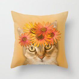 Tabby Cat with Daisy Flower Crown, Mustard Yellow Background Throw Pillow