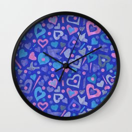 Hearts Paper Collage Valentines Day Pattern Ultramarine Wall Clock