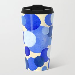 Colorful Blue White Watercolor Bubbles Travel Mug
