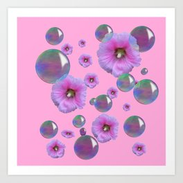 PINK-PURPLE FLOATING HOLLYHOCKS & SOAP BUBBLES PINK  ART Art Print
