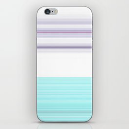 Romantic Pastel Teal white Purple Stripes iPhone Skin