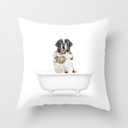 St. Bernard in a Vintage Bathtub Throw Pillow