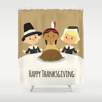 thanksgiving Shower Curtains featuring Happy Thanksgiving by Sara Showalter