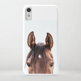 peekaboo horse, bw horse print, horse photo, equestrian, equestrian photo, equestrian decor iPhone Case