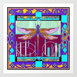 Western Dragonfly Purple-Turquoise Art abstract Art Print