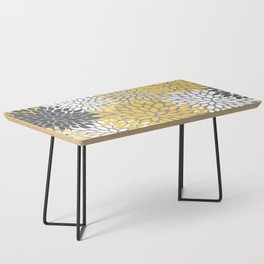 Modern Elegant Chic Floral Pattern, Soft Yellow, Gray, White Coffee Table