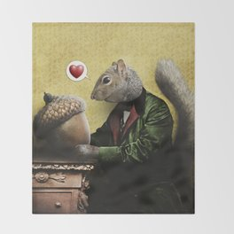 Mr. Squirrel Loves His Acorn! Throw Blanket