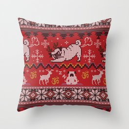 Pugly Yoga X-Mas Throw Pillow