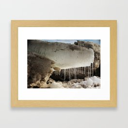 T Rex in Ice Framed Art Print