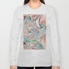 Pastel Rose Gold Mermaid Marble Long Sleeve T-shirt