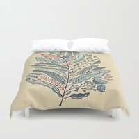 leaf Duvet Covers featuring Turning Over A New Leaf by Monica Gifford