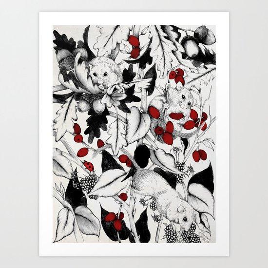 3 little Dormice Art Print
