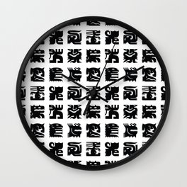 Black and white square monsters Wall Clock