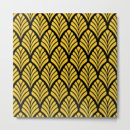 Tangiers Luxurious Black and Gold Art Deco Pattern Metal Print