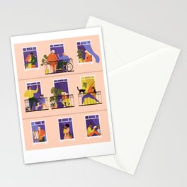 People on balconies. Stay home.  Stationery Cards