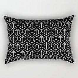 Hand Drawn Hypercube Black Rectangular Pillow