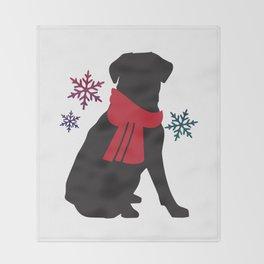 Black Dog Winter Throw Blanket
