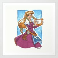 legend of zelda Art Prints featuring Zelda by Nikki Abrego