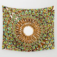 70s Wall Tapestries featuring Peacock Mandala – 70s Palette by Cat Coquillette
