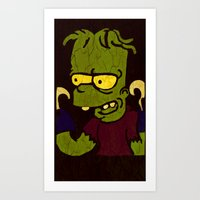 simpson Art Prints featuring Bart Simpson by Jide