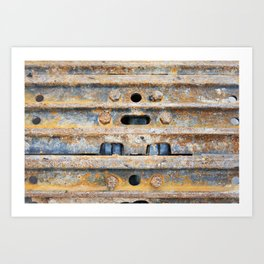 Rusty excavator caterpillar Art Print