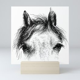 Horse animal head eyes ink drawing illustration. Mammal face portrait Mini Art Print