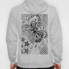 Butterfly and flowers, doodles Hoody