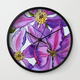Clematis flowers Wall Clock
