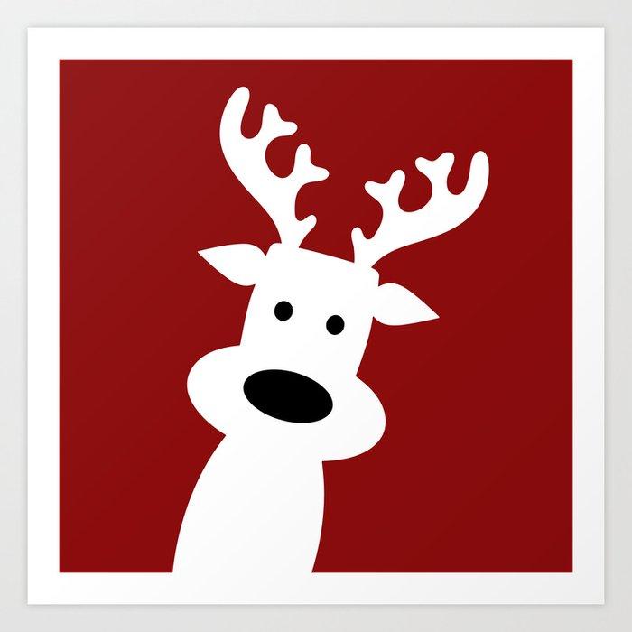 Reindeer on red background Kunstdrucke