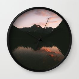 Sunset at Many Glacier Wall Clock